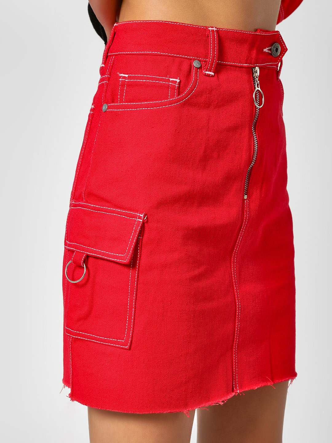 united kingdom speical offer most reliable Buy K Denim Red KOOVS Raw Hem Mini Denim Skirt for Girls ...