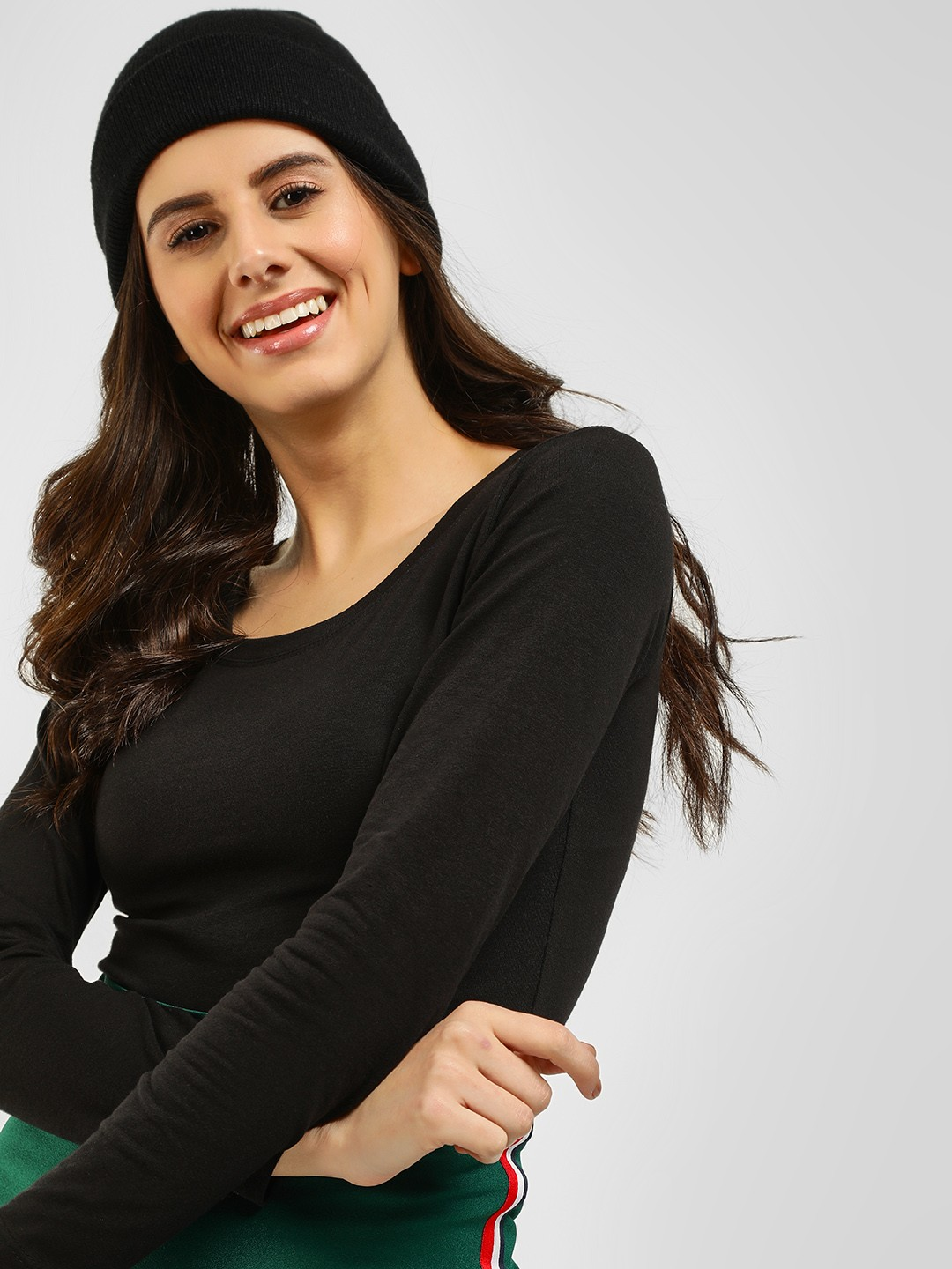KOOVS Black Long Sleeve Scoop Neck T-Shirt 1