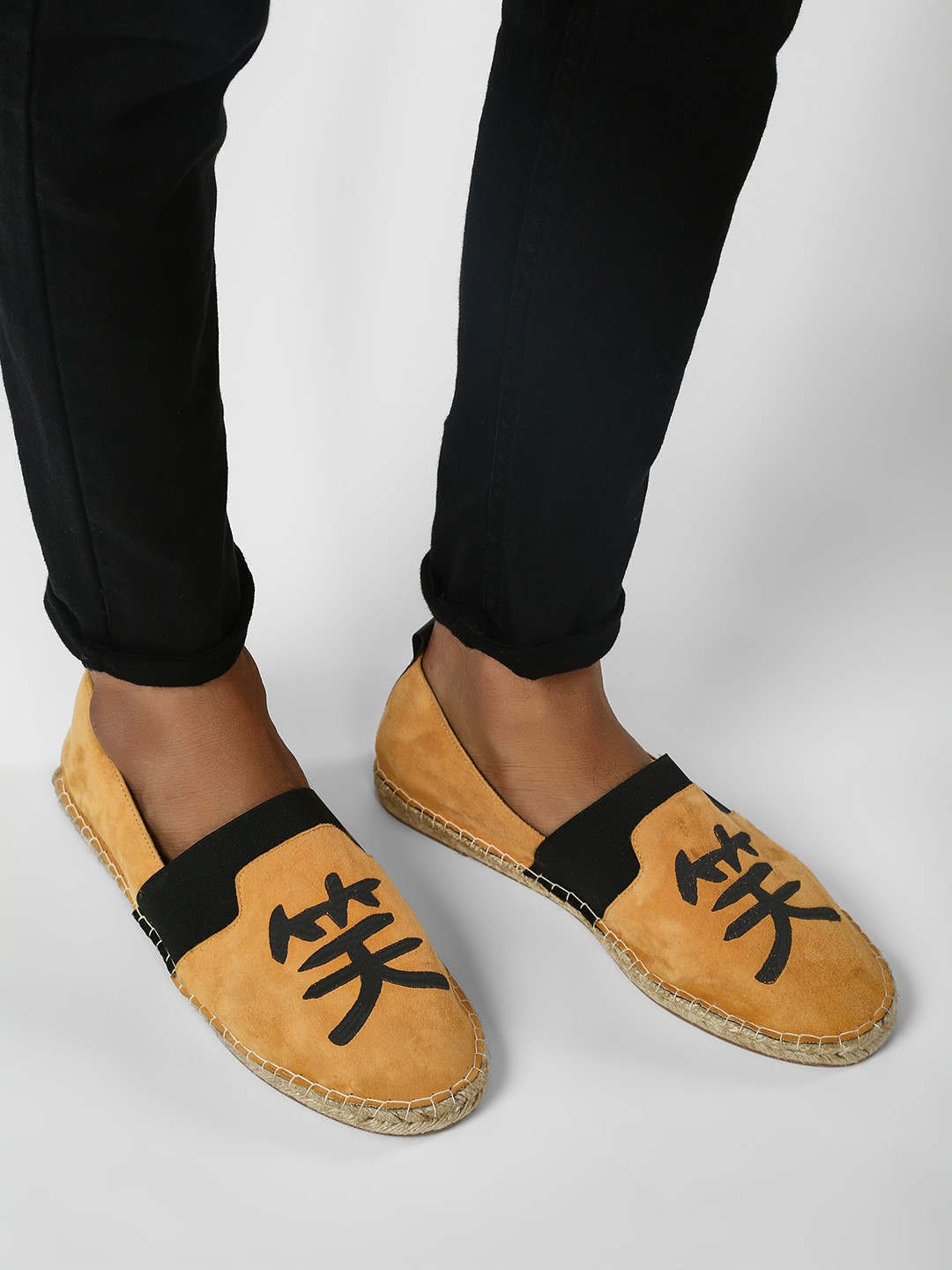 KOOVS Yellow Embroidered Suede Leather Original Espadrilles 1