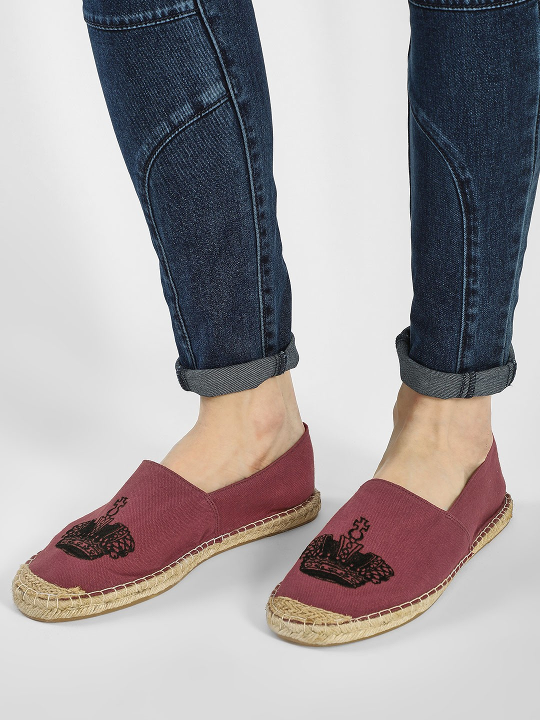 KOOVS Burgundy Crown Embroidered Espadrilles 1