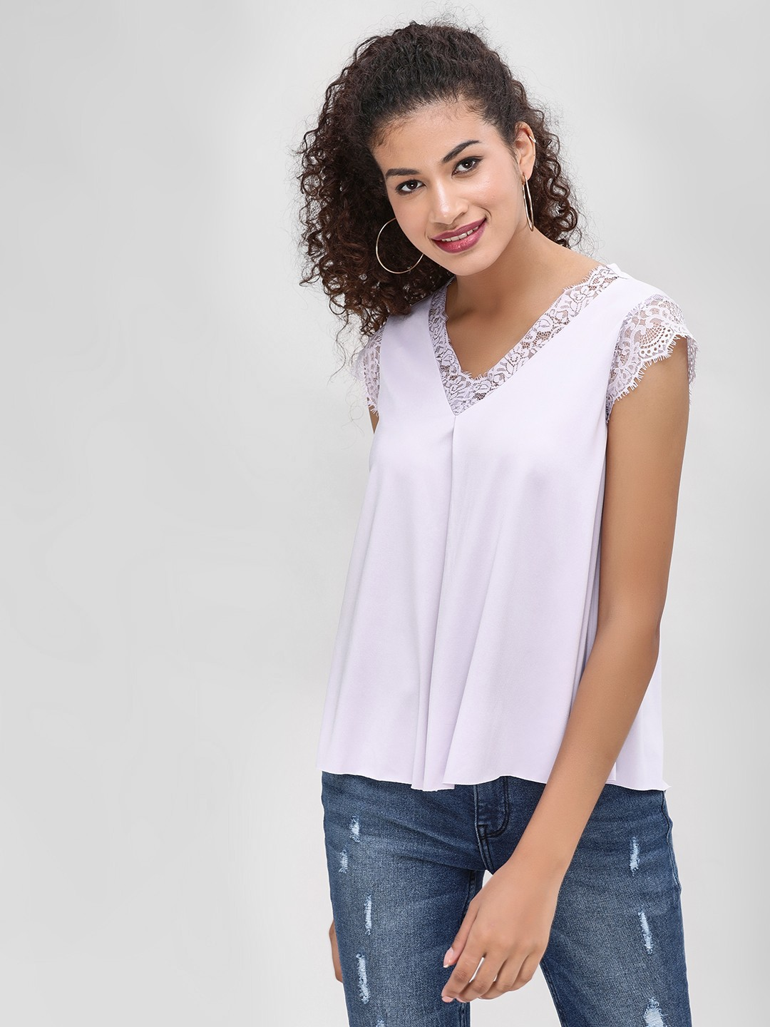 Cover Story Mauve Lace Trim Flared Top 1