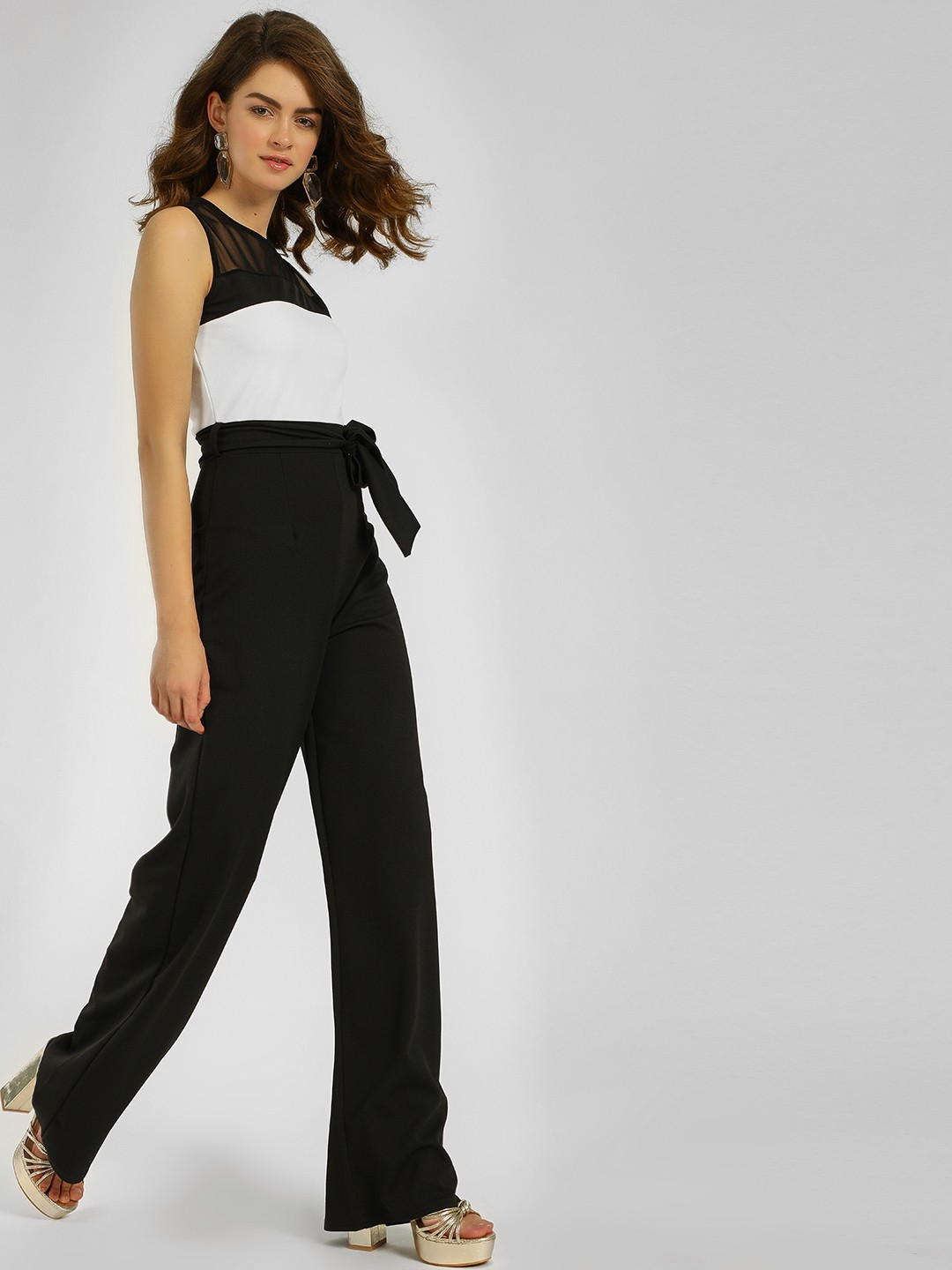 Quiz Black Contrast Mesh Colour Block Jumpsuit 1