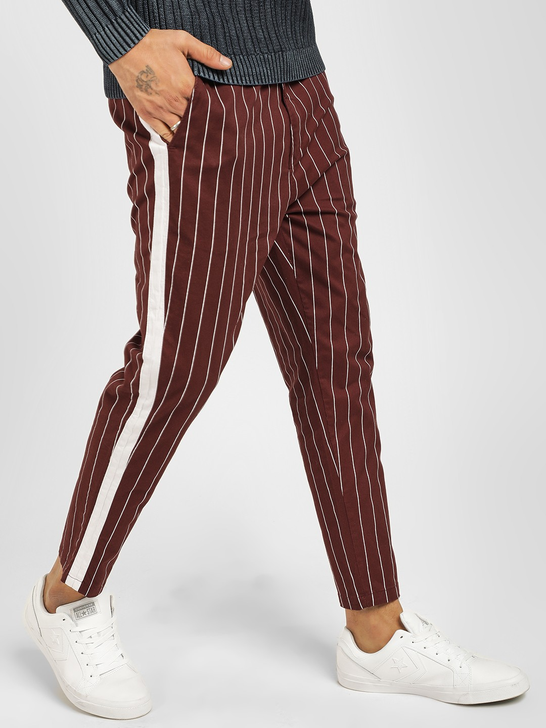 Spring Break Maroon Contrast Tape Striped Crop Trousers 1