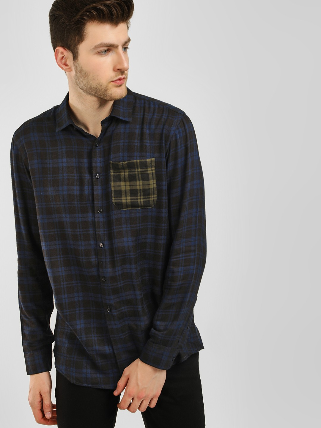 KOOVS Multi Contrast Pocket Woven Check Shirt 1