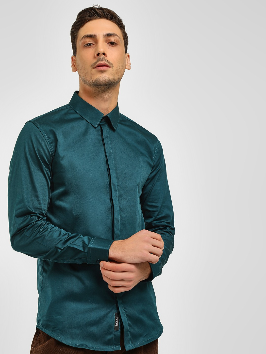 KOOVS Green Satin Finish Smart Shirt 1