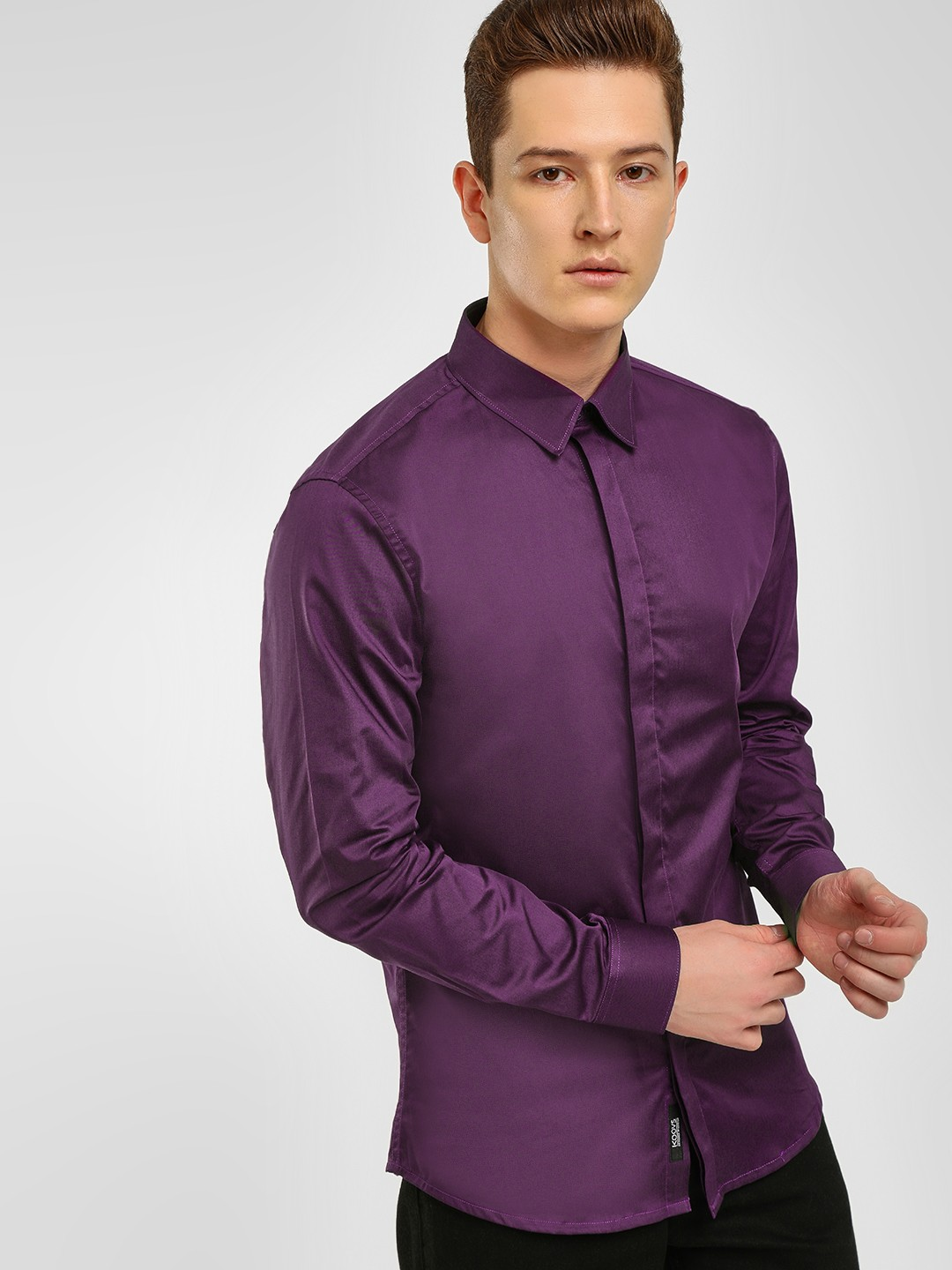 KOOVS Purple Satin Finish Smart Shirt 1