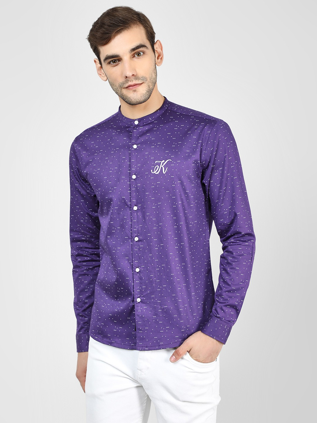 KOOVS Purple Geometric Print Grandad Collar Shirt 1