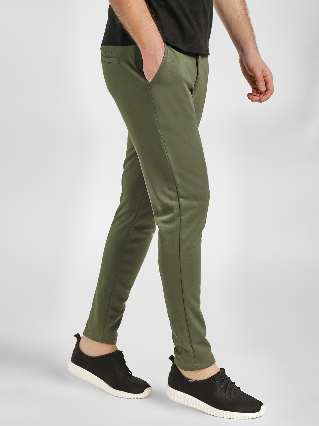KOOVS Olive Knitted Slim Fit Trousers 1