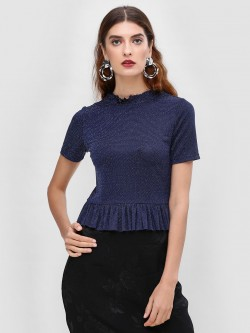 Cover Story Peplum Blouse With Neck Detail