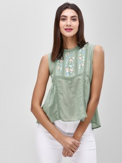 Cover Story Floral Embroidered Sleeveless Blouse