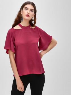 Cover Story Flared Sleeve Choker Neck Blouse