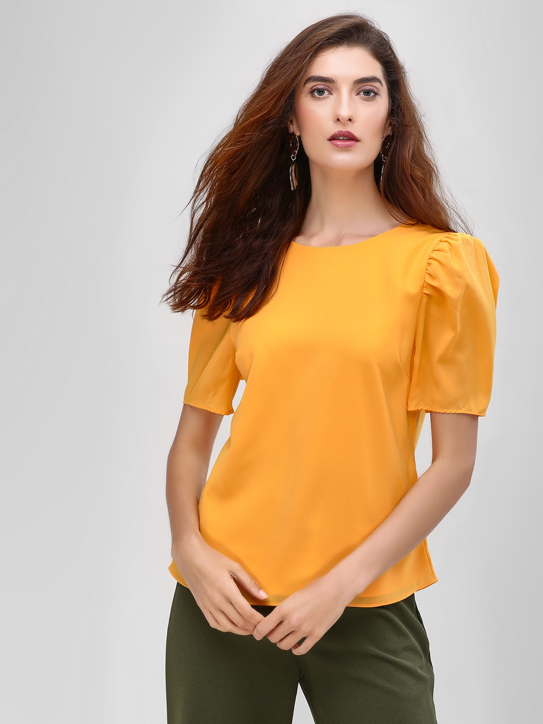 Cover Story Mustard Basic Puff Sleeve Blouse 1
