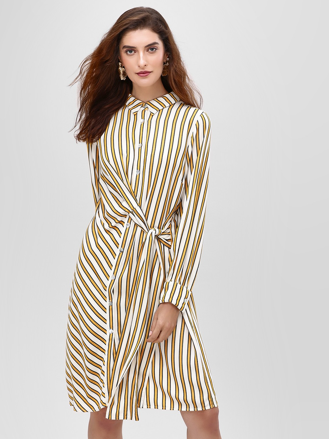 Cover Story Mustard Stripe Shirt Dress With Draw String 1