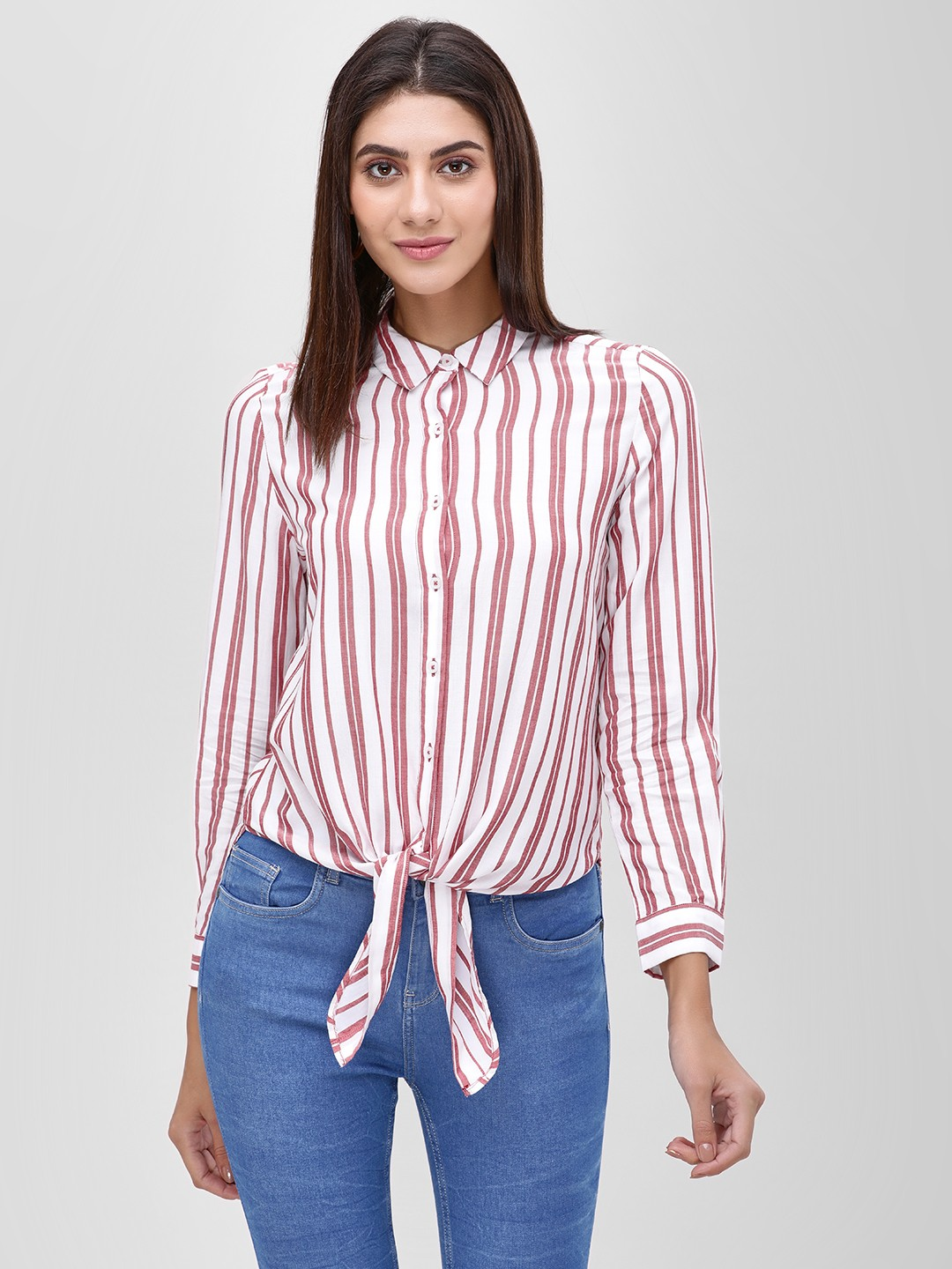 Cover Story PLUM Striped Blouse With Tie Knot 1