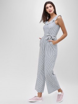Cover Story V-Neck Jumpsuit With Stripes