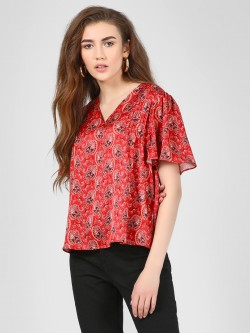 Cover Story Paisley Print Satin Blouse