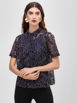 Cover Story Texture Tie Up Blouse