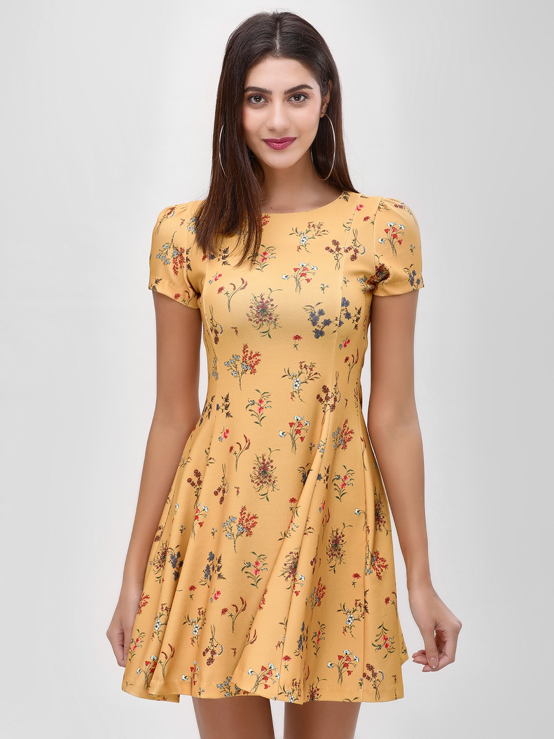 Cover Story Yellow Floral Print Skater Dress 1