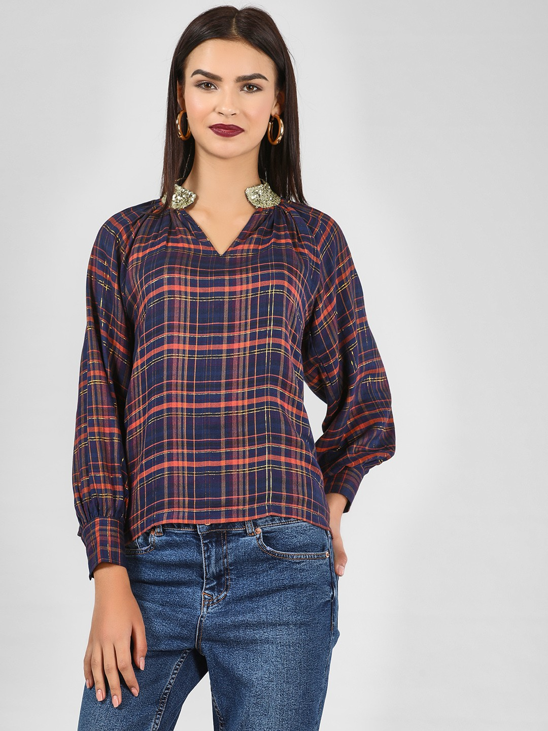 KOOVS Multi Sequin Collar Multi-Check Top 1