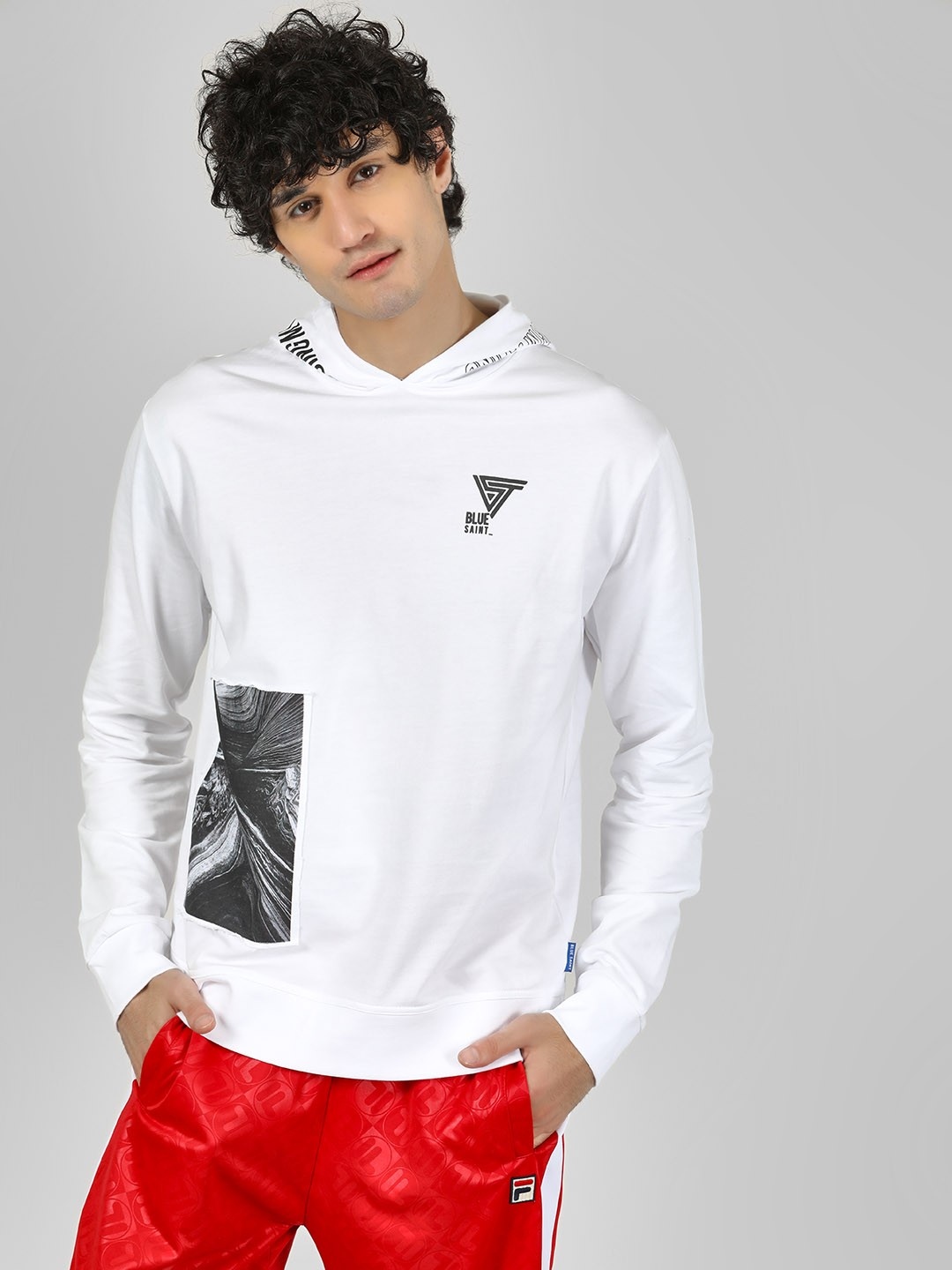 Blue Saint White Hoodie With Placement Print 1