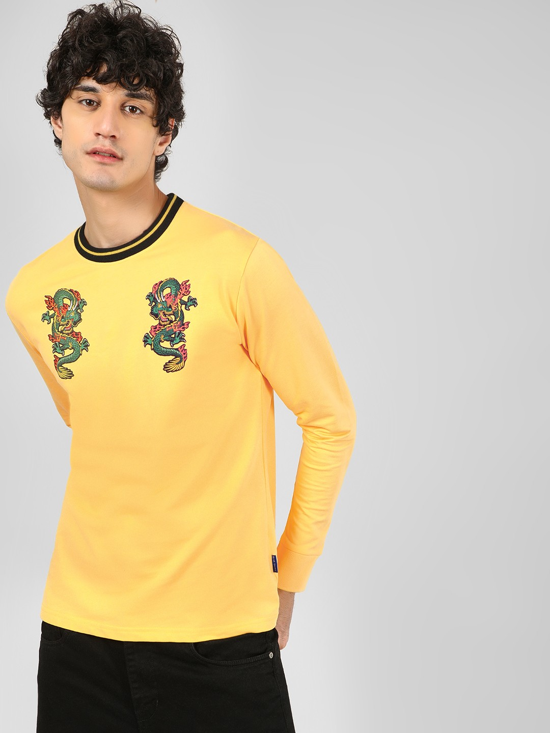 Blue Saint Yellow Dragon Printed Ribbed Sweatshirt 1