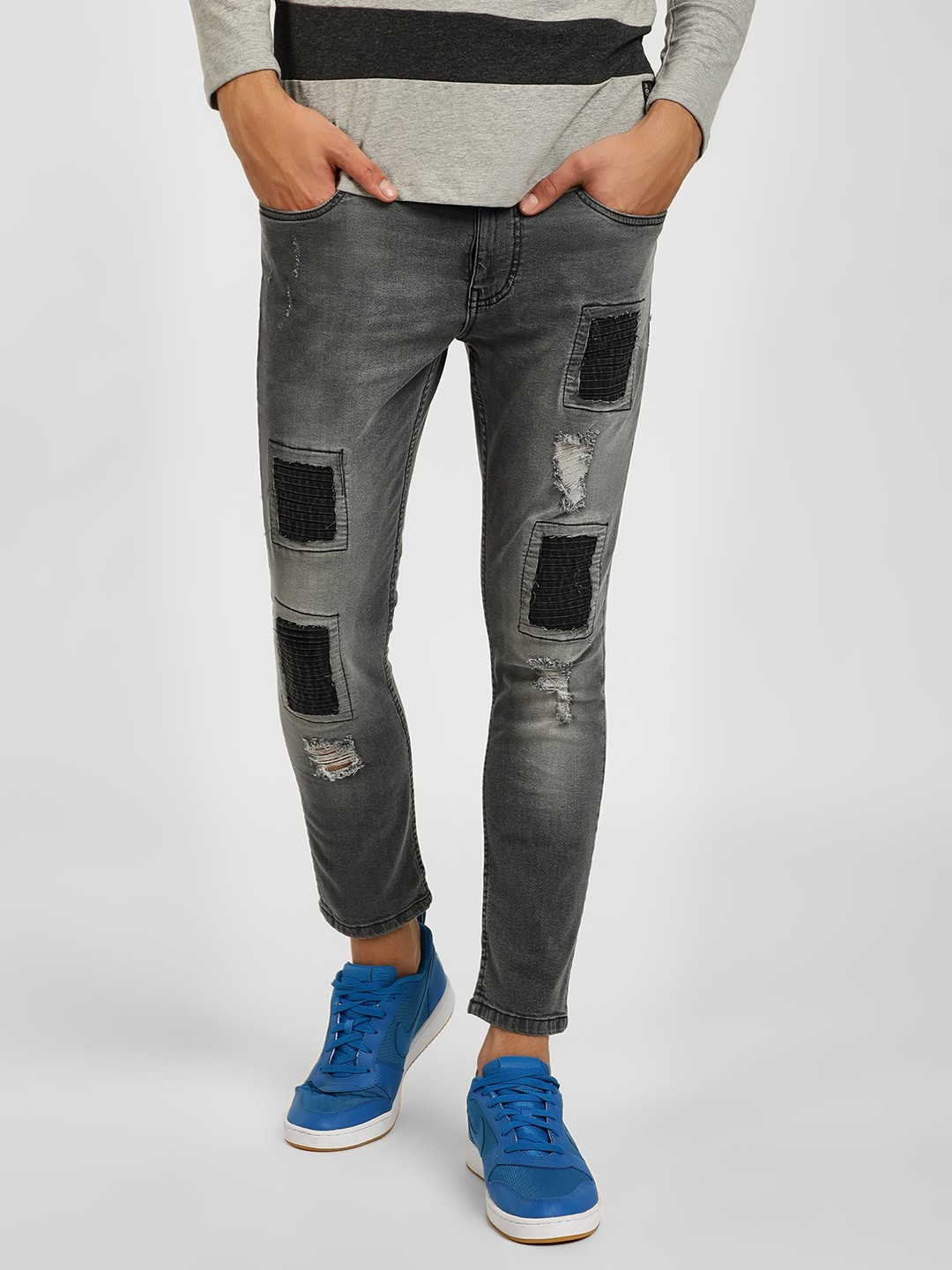 Blue Saint Grey Quilted Patch Skinny Jeans 1