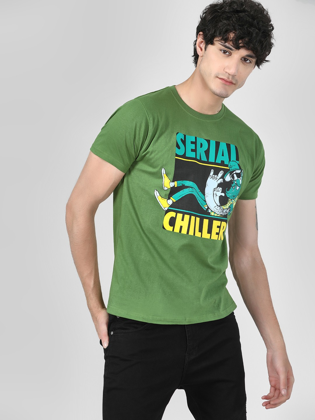 Tantra Olive Green Serial Chiller Slogan Printed T-Shirt 1