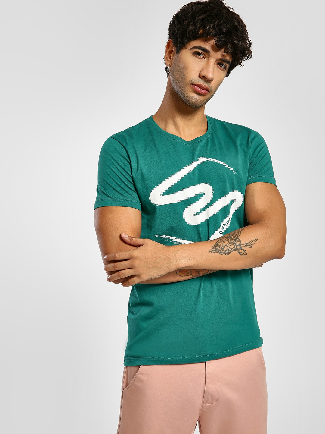 Being Human Green Crew Neck Placement Print T-Shirt 1