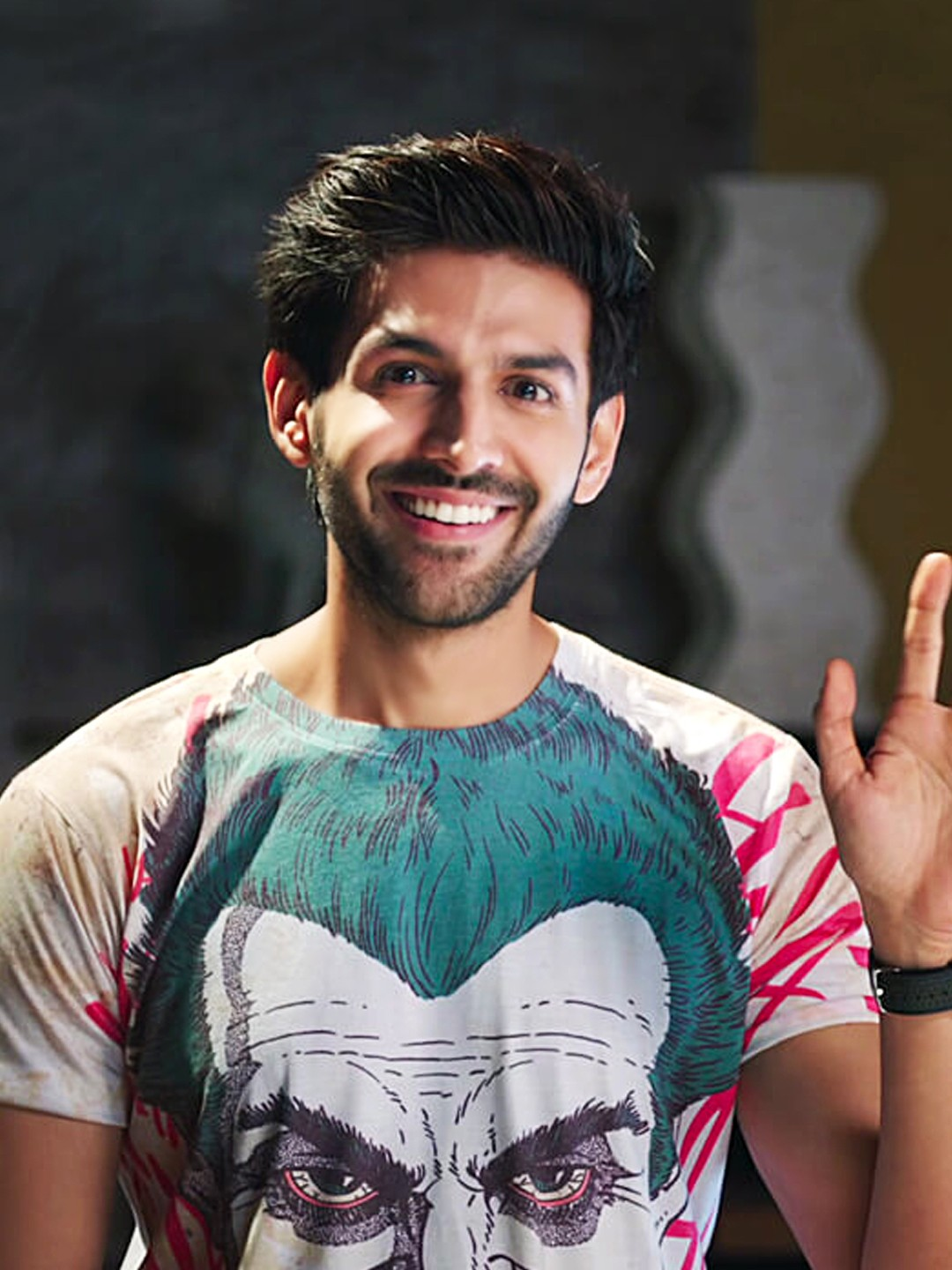 Bollywoo White In The Style Of Kartik Aryan Joker T-Shirt 1