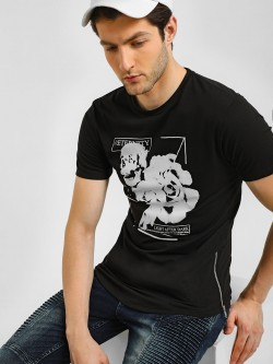 KOOVS Skull Rose Graphic Longline T-Shirt