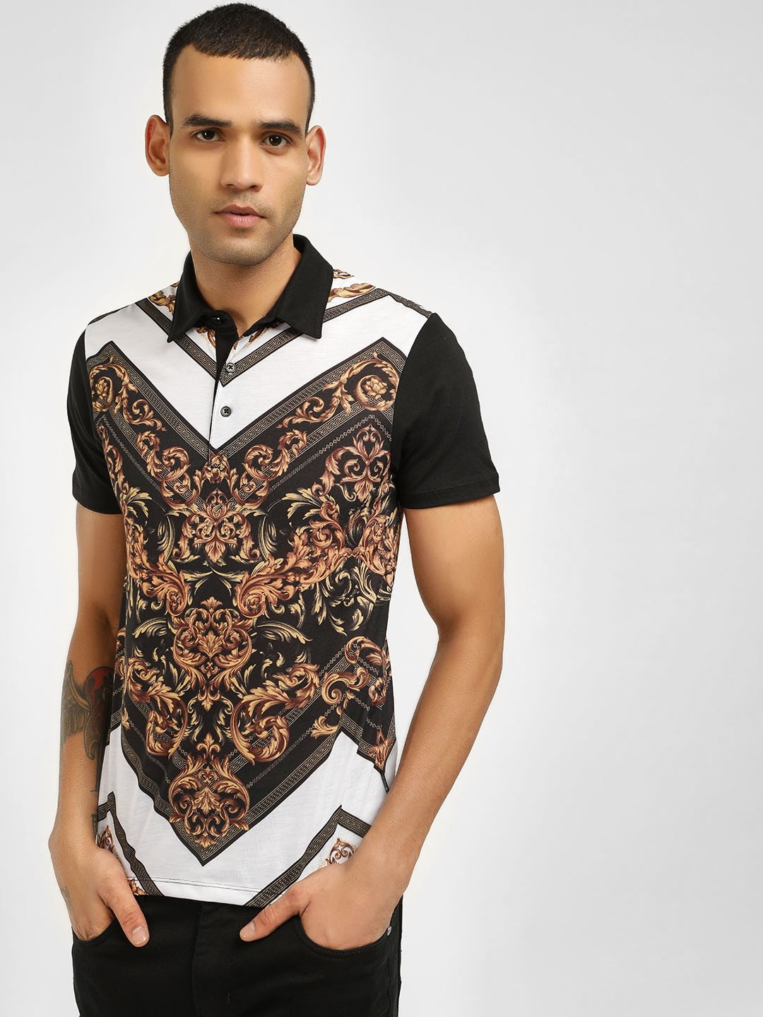 KOOVS Multi Baroque Chevron Print Polo Shirt 1