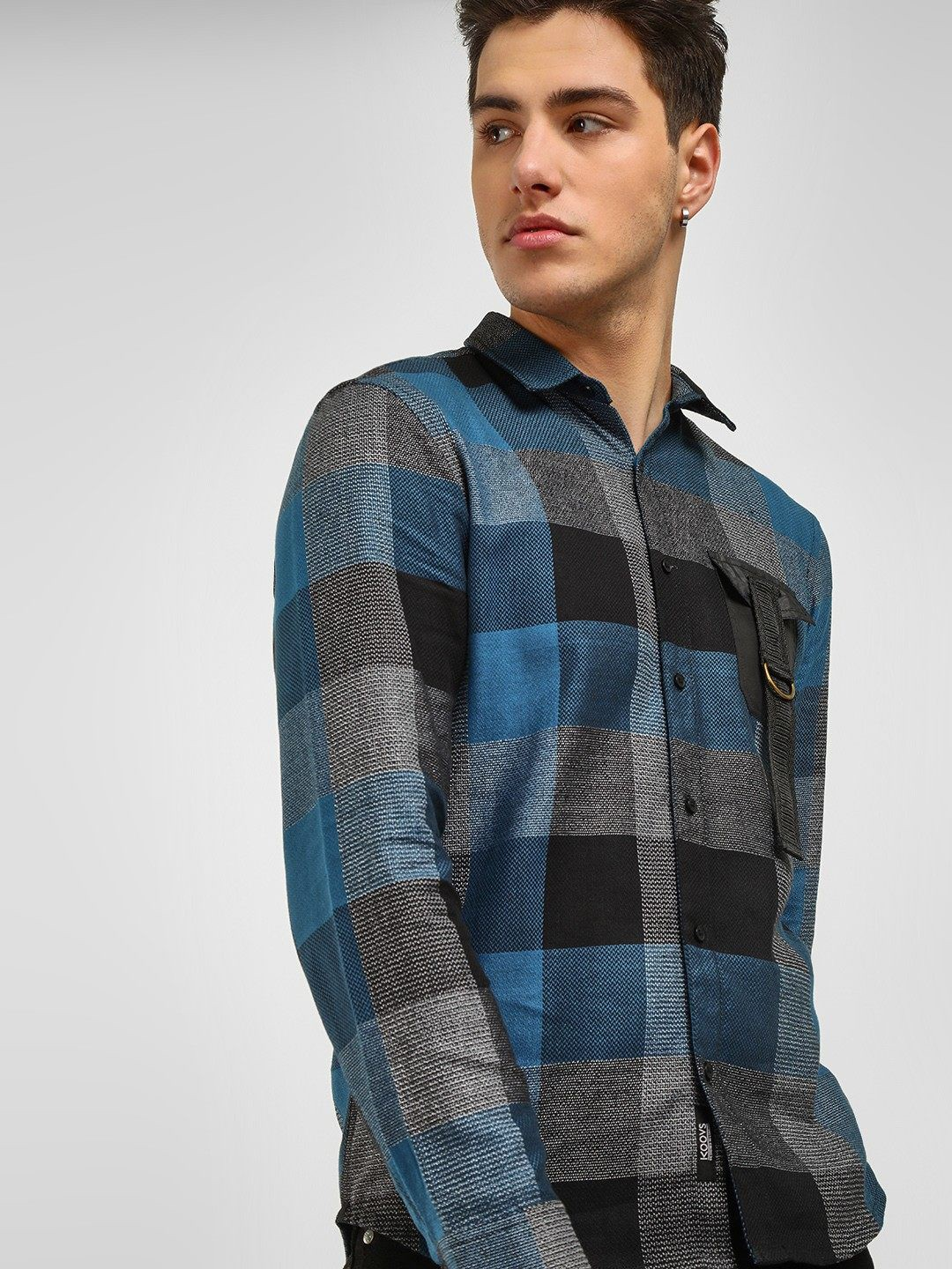 KOOVS Multi Jacquard Check Casual Shirt 1