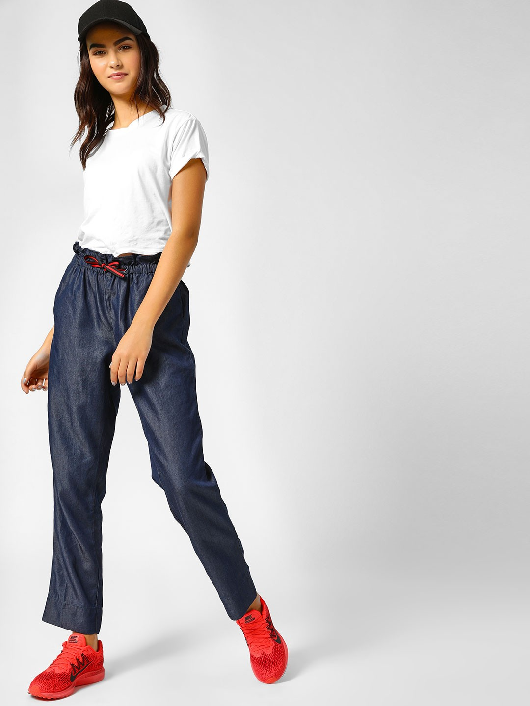 PostFold Blue Paper Bag Trousers With Tie Up 1