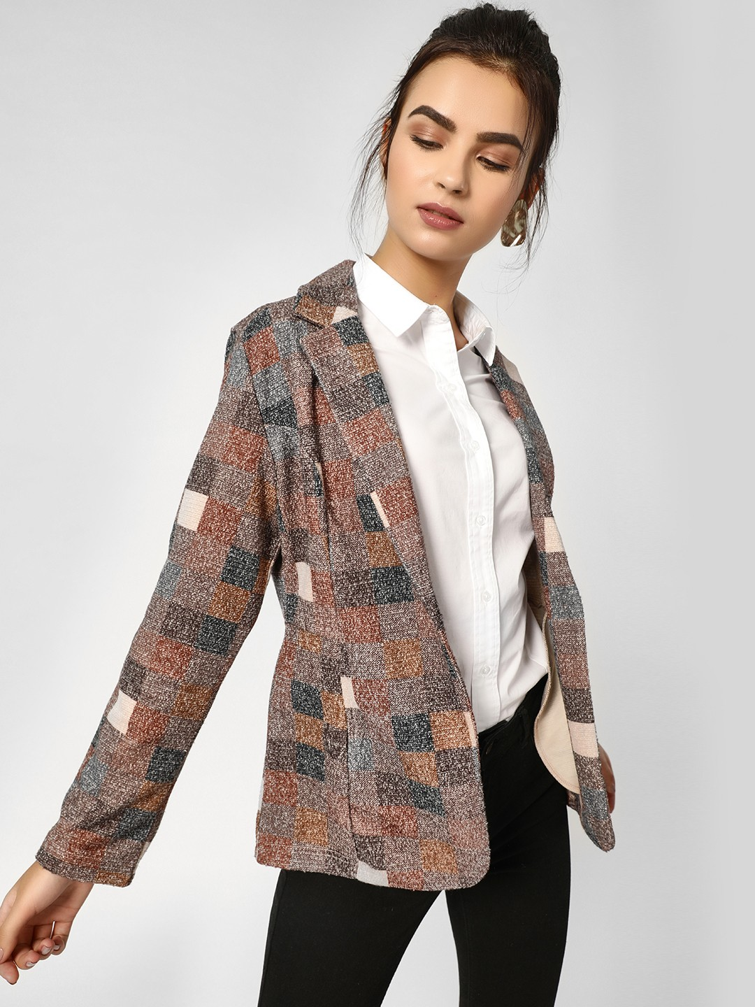 PostFold Multi Colour Block Checkered Blazer 1