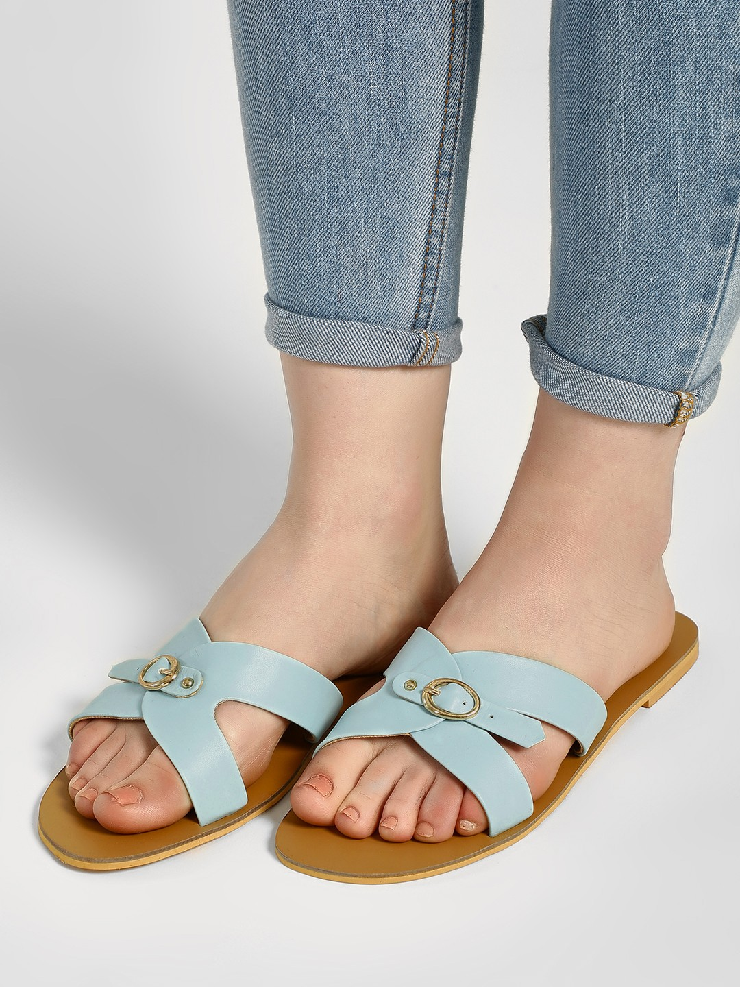 CAi Blue Single Buckle Strap Slides 1