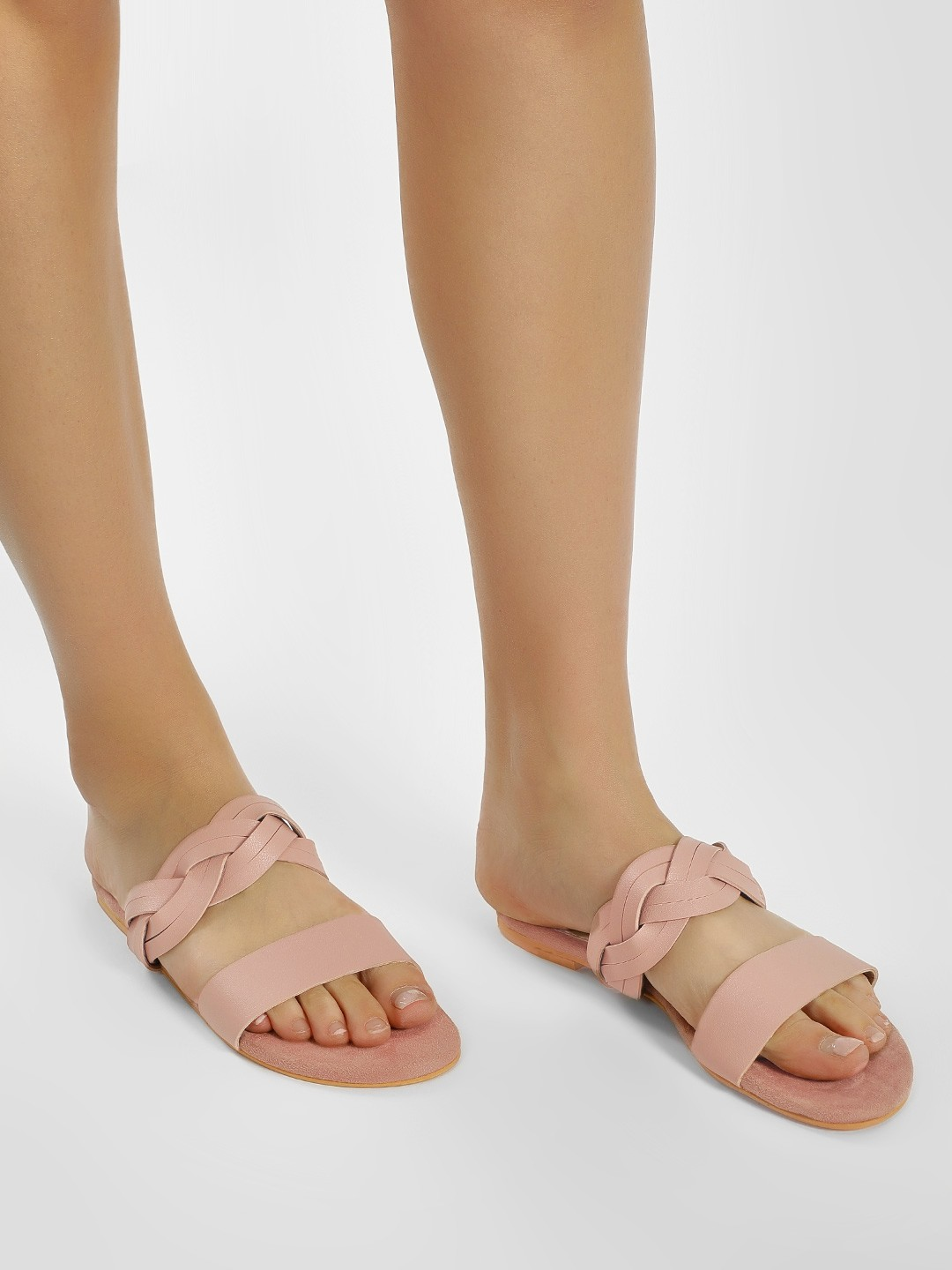 CAi Pink Braid Strap Flat Sandals 1
