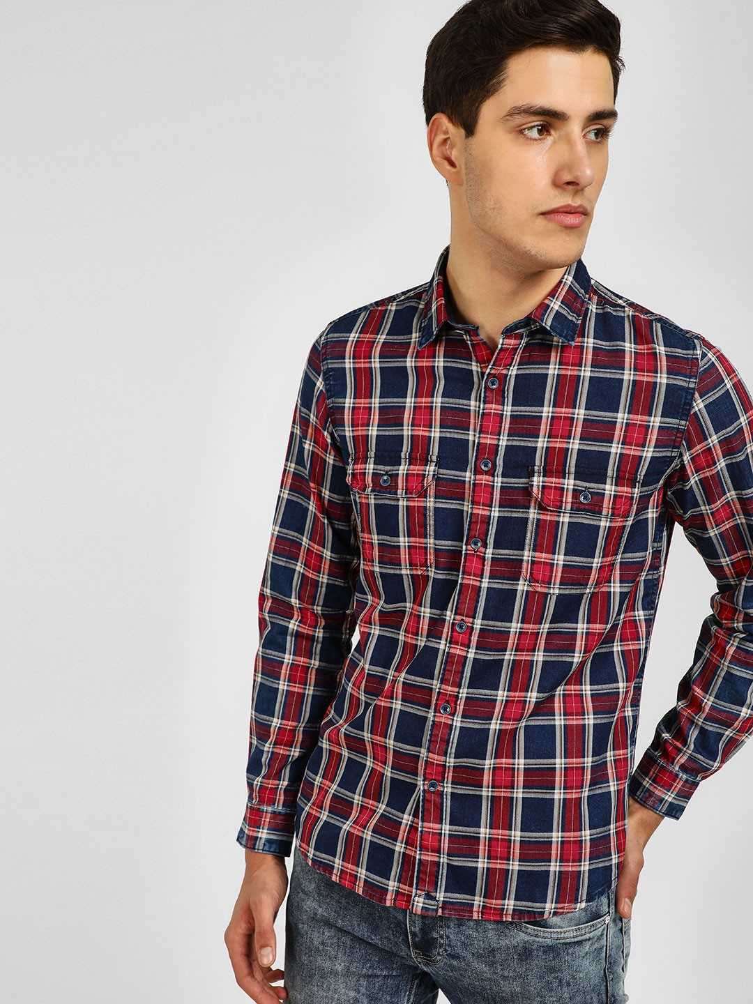 Lee Cooper Red Check Long Sleeve Shirt 1