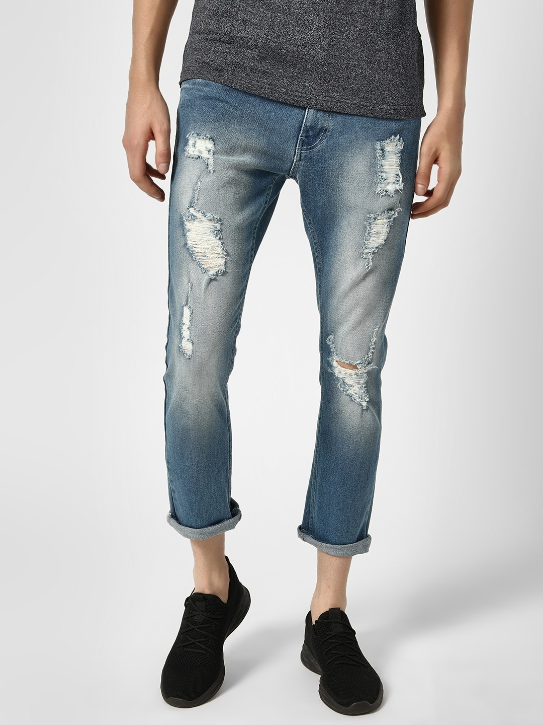 Styx & Stones Blue Distressed Tapered Jeans 1