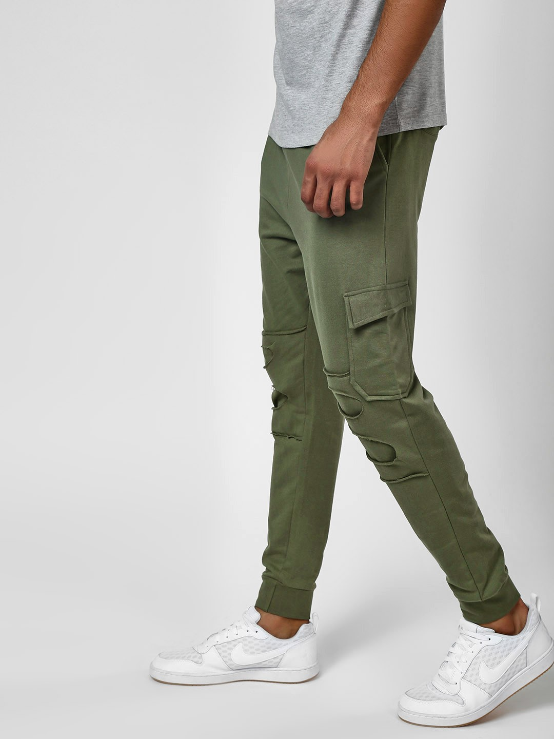 Styx & Stones Green Distressed Joggers With Drawcord 1