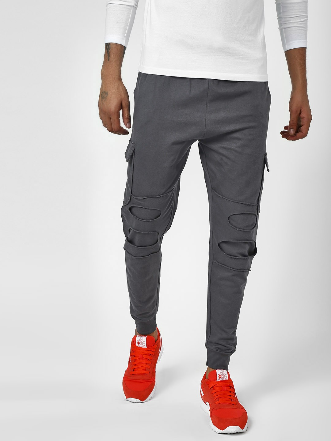 Styx & Stones Grey Distressed Joggers With Drawcord 1