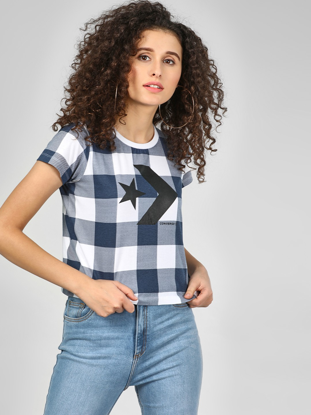 Converse Navy Checkered Print Crop T-Shirt 1
