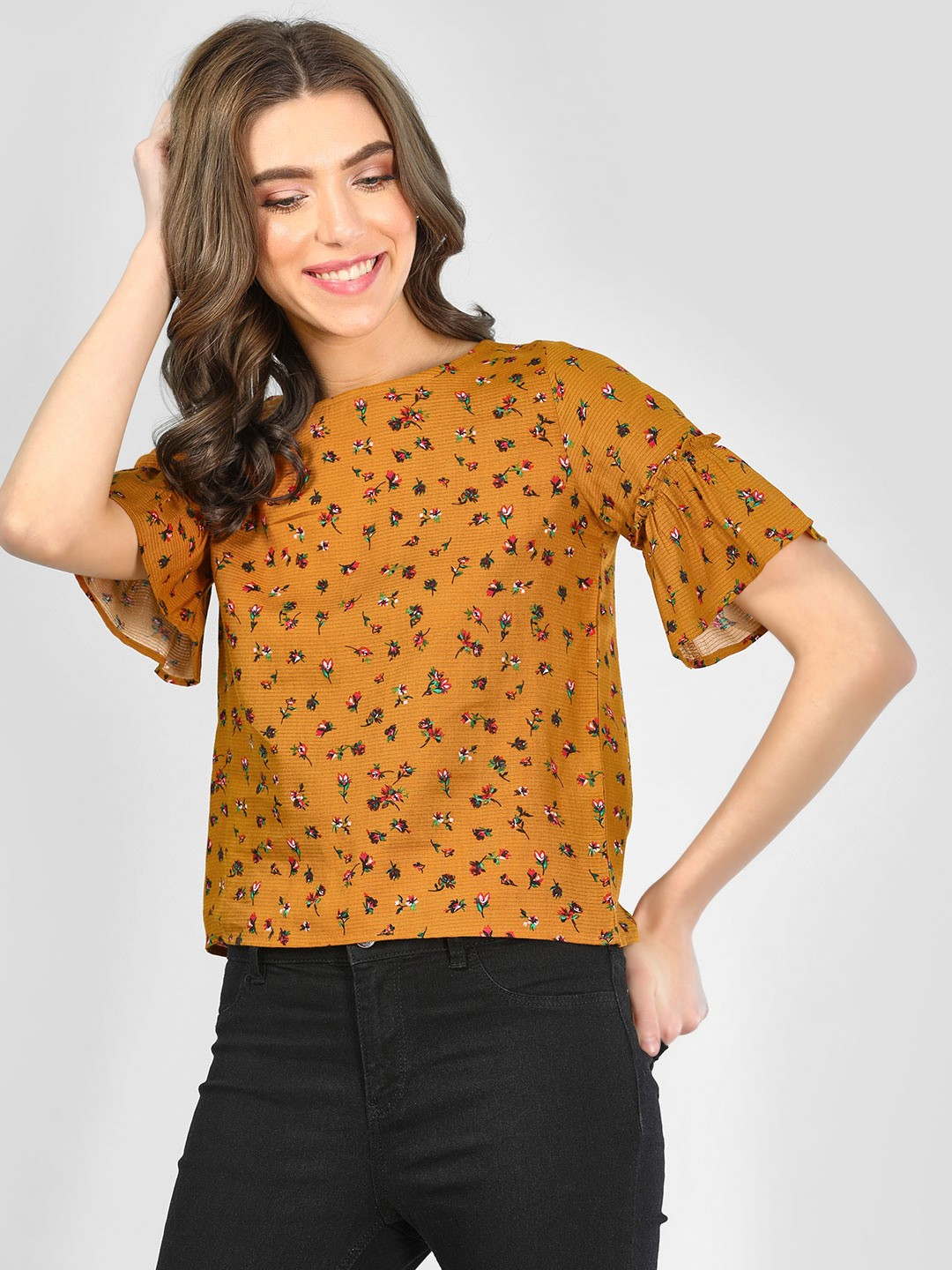 RIG Yellow Floral Print Blouse With Ruffled Sleeve 1