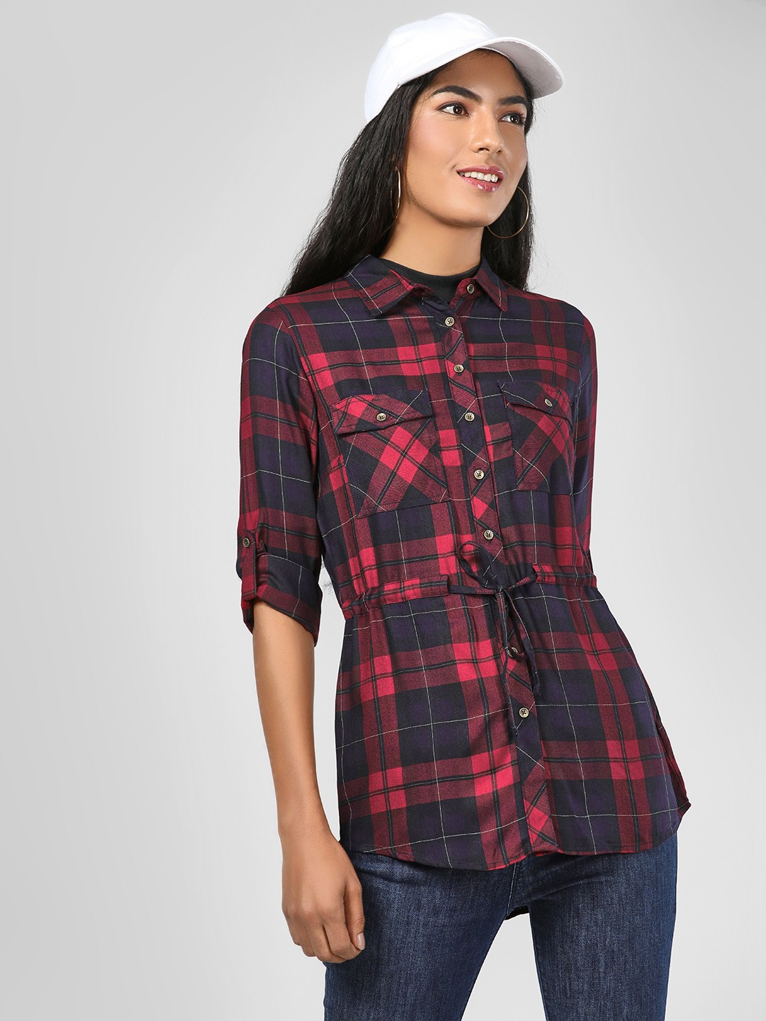RIG Teal Tie-Up Waist Checkered Shirt 1