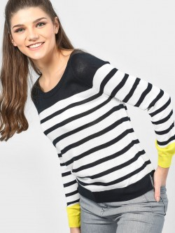 SCULLERS FOR HER Striped Knitted Long Sleeve Top
