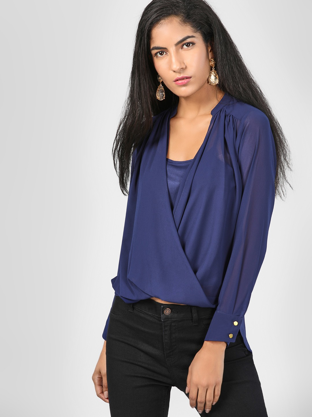 SCULLERS FOR HER Navy Plunge V-Neck Top 1