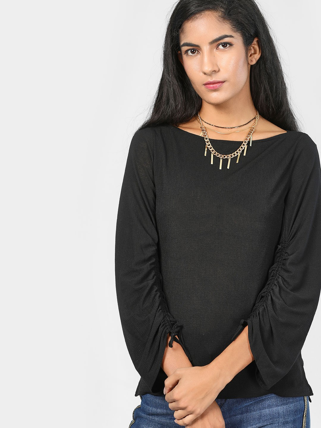 SCULLERS FOR HER Black Basic Ruched Sleeve Blouse 1