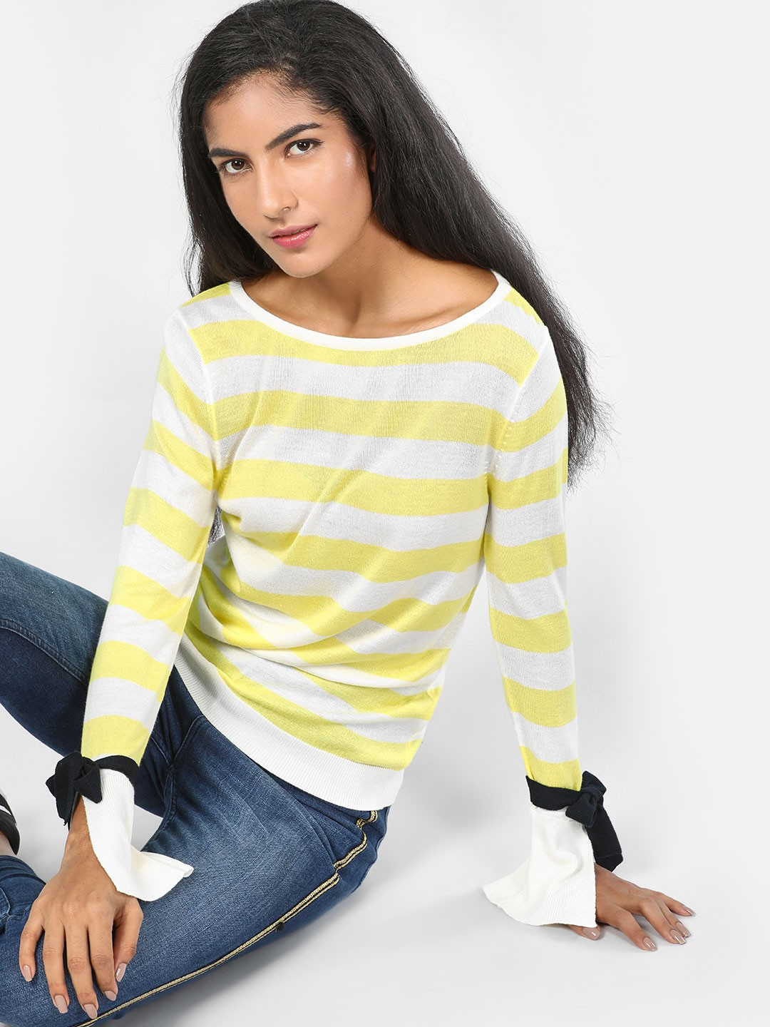 SCULLERS FOR HER White Tie Sleeve Striped Knitted Top 1