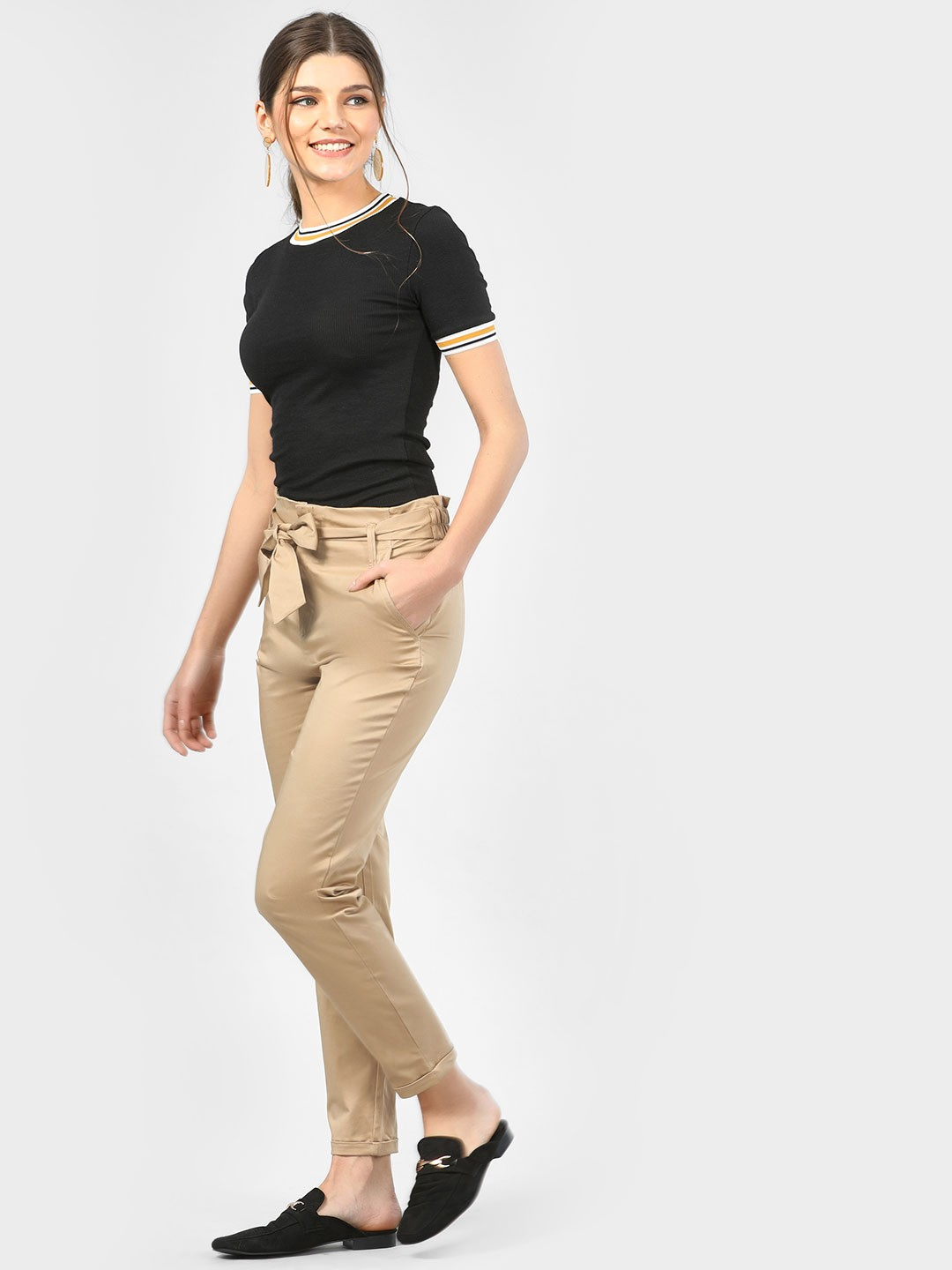 SCULLERS FOR HER Khakhi Paper Bag Waist Trousers 1