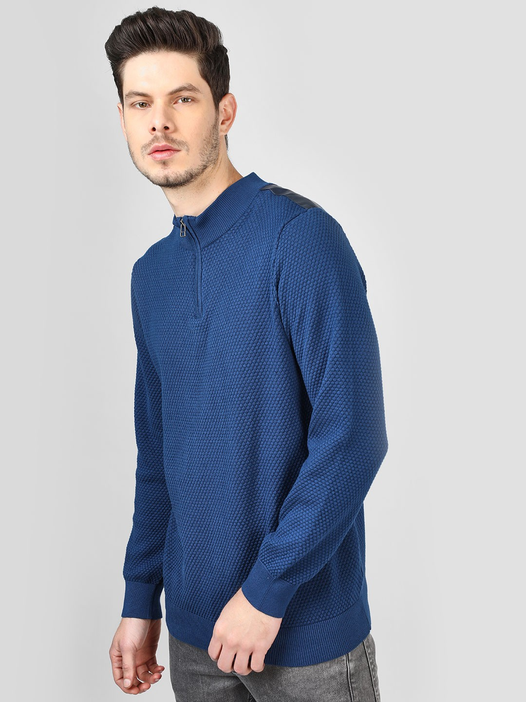 SCULLERS Blue Quilted Zipper Sweatshirt 1