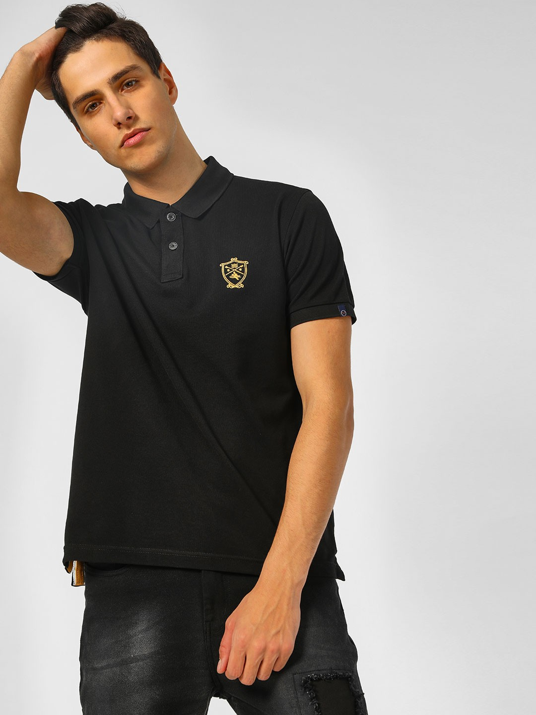 SCULLERS Black Basic Polo T-Shirt 1